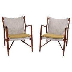 Finn Juhl Pair of NV45 Easy Chairs for Niels Vodder, 1945