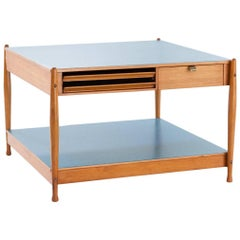 Italian Low Coffee Table  Wood and Light Blue Tops by Fratelli Reguitti, 1950s
