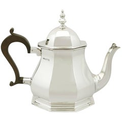 Antique Queen Anne Style Sterling Silver Teapot, 1920s