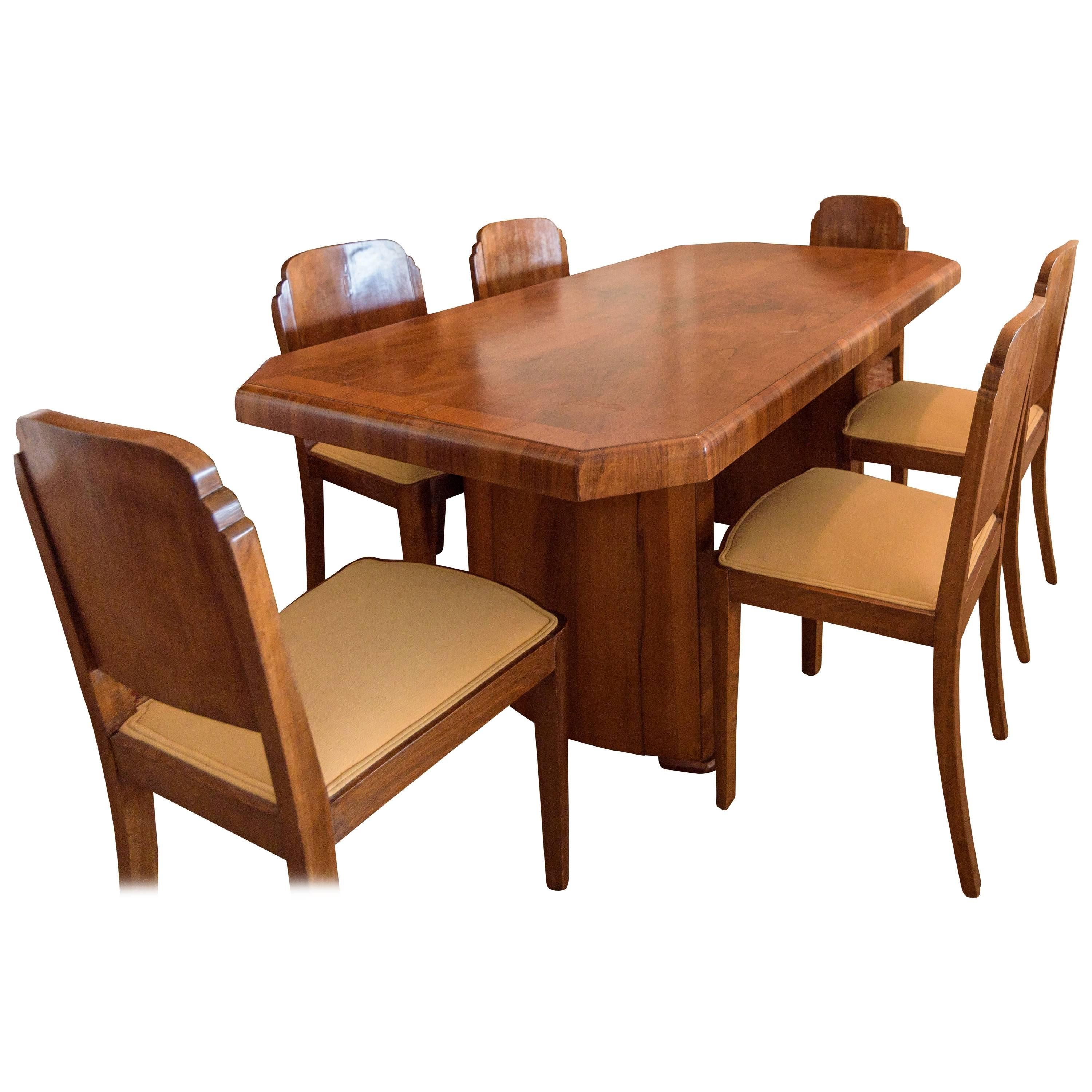 art deco dining room set walnut for sale at 1stdibs rh 1stdibs com art deco dining room set art deco round dining room table