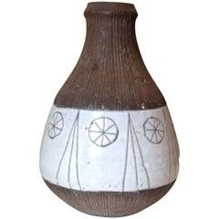 Ceramic Vase with geometric Decor H: 14 cm, Rolf Hansen-Norway