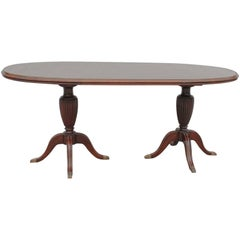 Mahogany Regency Revival Two Pillars Oval Dining Table, Glass Top, Cantu, 1950s
