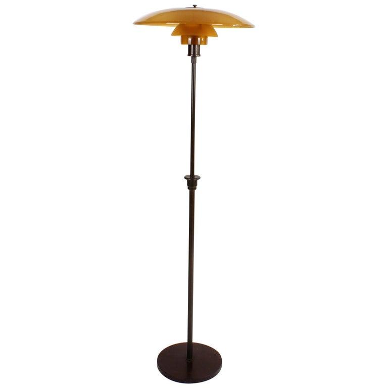 Poul Henningsen 5/3 Floor Lamp in Brown Brass & Amber Coloured Glass, 1930s