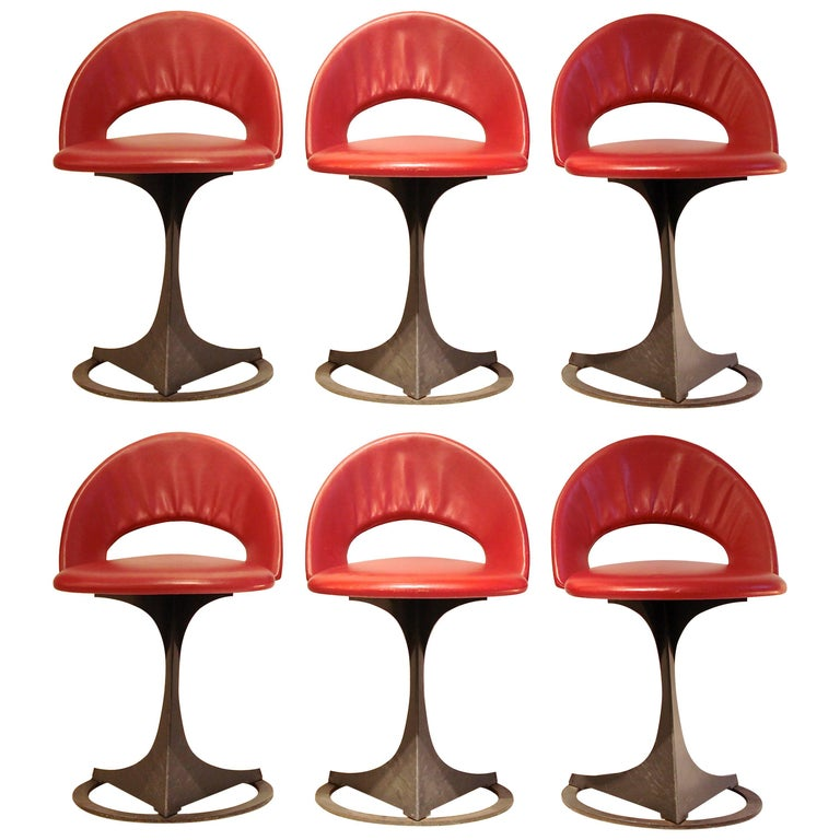 Set of Six Red Leather Chairs by Santiago Calatrava for Desede Switzerland,1986