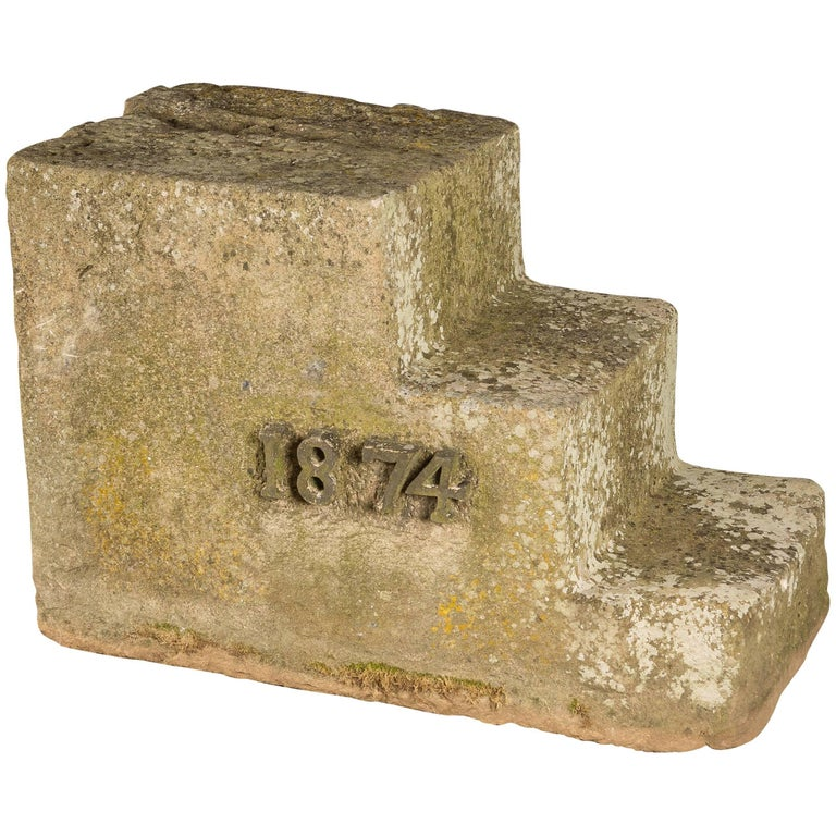 Carved Stone Steps : Carved stone equestrian horse mounting block steps for
