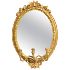 Late 19th Century Oval Carved Mirror with Candelabra