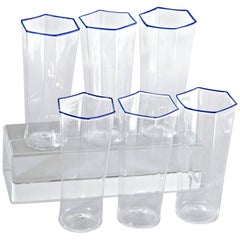 Six Hexagonal Pagliesco Glasses, Cobalt Rim, Carlo Scarpa, 1932 Design