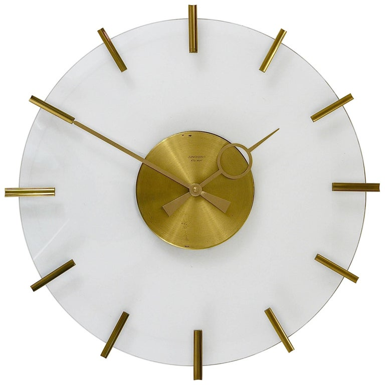 Junghans Ato-Mat Lucite Brass Midcentury Sun Wall Clock, Germany, 1950s