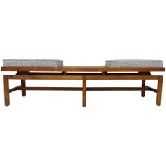 Midcentury Walnut Bench in the Manner of Jens Risom, circa 1960s