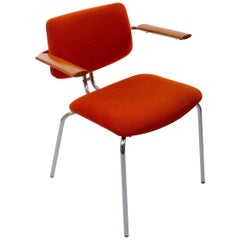 Chair by Duba, 1980s, Danish Modernist Dining Chair with Orange Upholstery