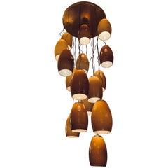 Late 20th Century Chandelier w/Incamiciato Brown & Cream Murano Glass Pendants