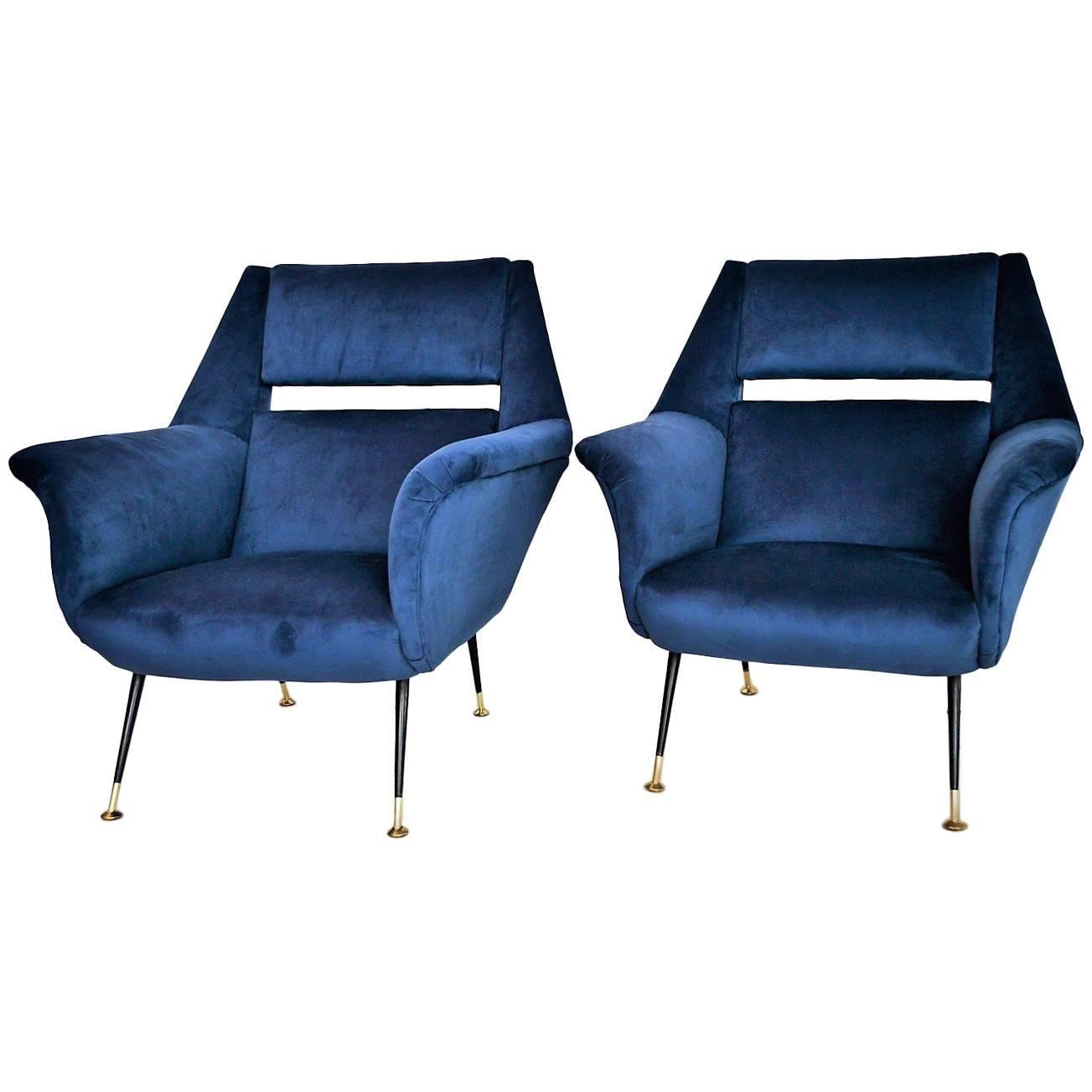Italian Armchair Restored In Royal Blue Velvet By Gigi Radice For Minotti,  1950s