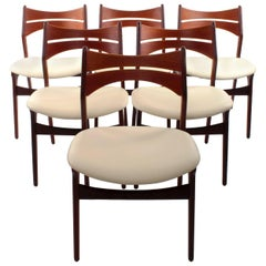Rosewood and Teak Set of Six Erik Buck Model 310 Dining Chairs, circa 1960