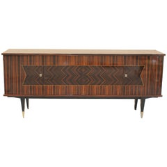 Beautiful French Art Deco Macassar Ebony Zig Zag Sideboard, circa 1940s