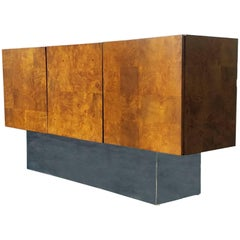 Midcentury Walnut Burl Patchwork and Chrome Base Credenza by Milo Baughman