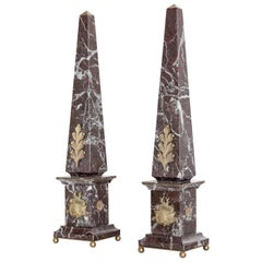"""Pair of Italian Red Marble and Bronze Obelisks """"Acanthus"""", Limited Edition, 2017"""