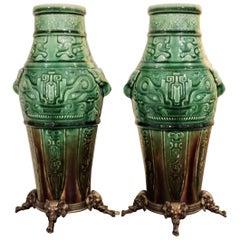 Theodore Deck Faience Celadon Ormolu-Mounted Mounted Pair of Vases