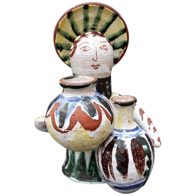 Midcentury Ceramic Angel With Amphorae Sculpture, Vallauris, France, circa 1950s For Sale