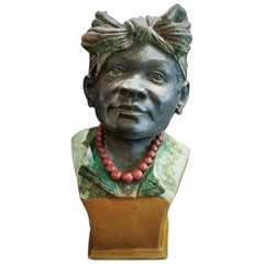 Antique Portuguese Majolica Bust, Cape Verde Island, 1890s
