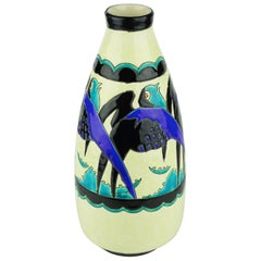 Art Deco Keramis Boch Blue Swallows Vase