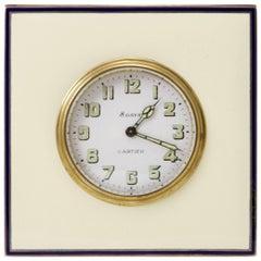 Antique 20th Century Enamel Silver Desk Clock by Cartier