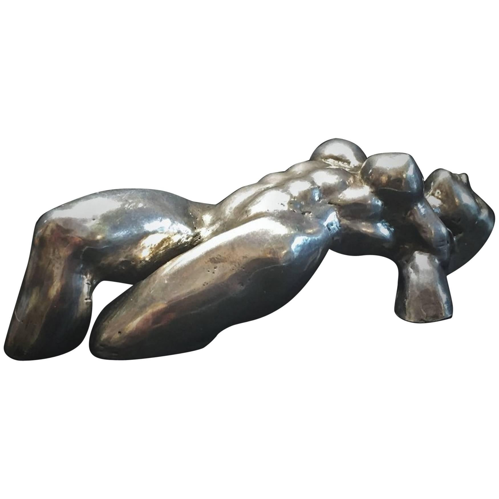 Val Stern, Nude, Solid Silver Sculptural Paperweight, 21st Century