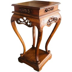 19th Century Mahogany Hand-Carved Side Table