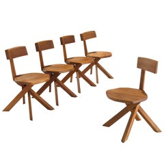 Pierre Chapo Set of Five Asymmetrical Chairs in Elm