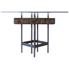 Stunning Contemporary Mahoe, Black Steel and Brass Dining Table by Herbeh Wood