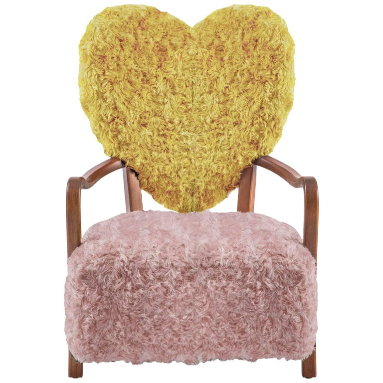 Uni Yellow and Pink Armchair by Merve Kahraman For Sale