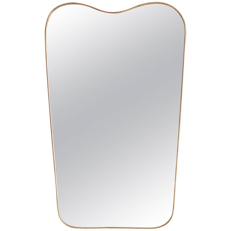 Vintage Italian Brass Wall Mirror 1