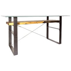 Customizable Exotic Mahoe Wood Industrial Finish Dining Table or Console Table