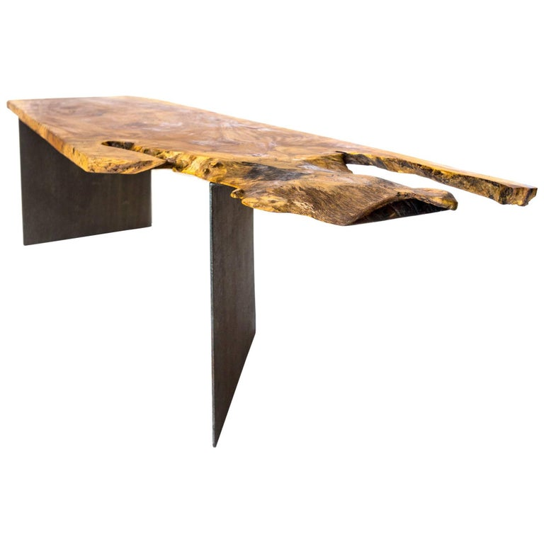 Organic Pterocarpus Wood/Black Steel Coffee Table/ Bench Design by Herbeh Wood