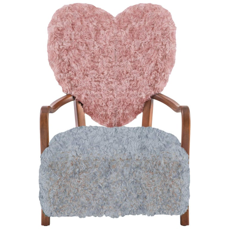 Uni Pink and Grey Armchair by Merve Kahraman