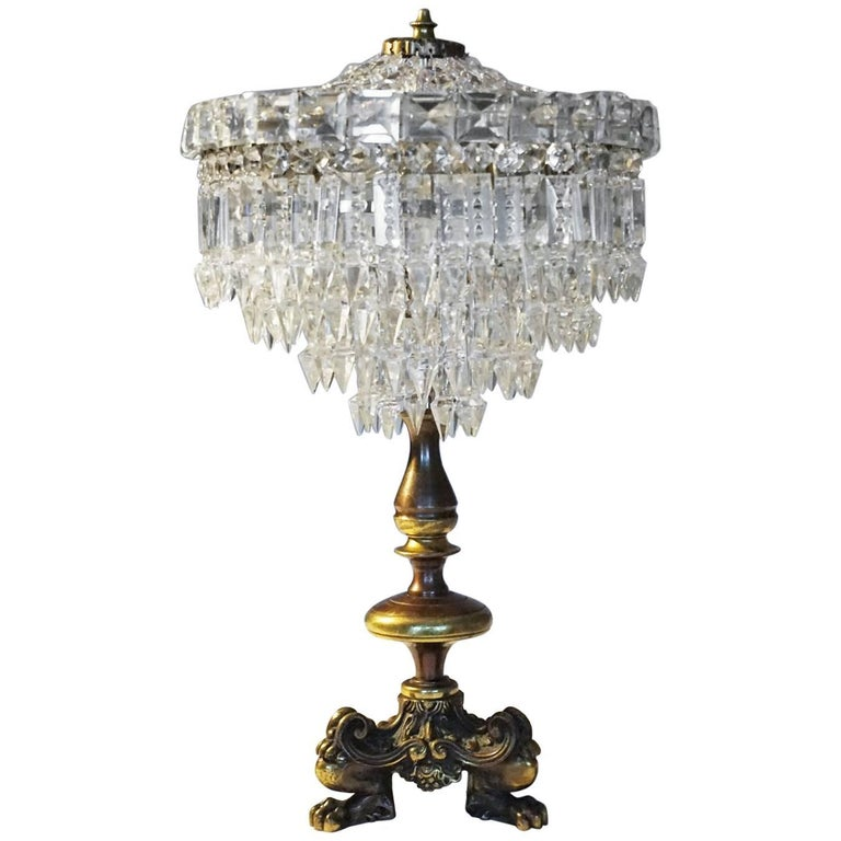 French Empire Style Crystal Three Light Table Lamp Candelabra For