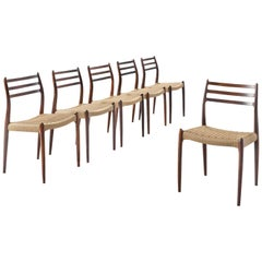 Niels O. Moller Set of Six Dining Chairs in Rosewood and New Paper Co Upholstery