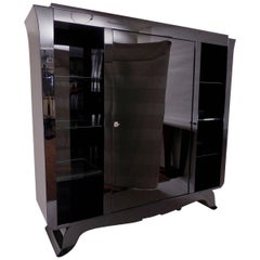1930s Big Black Lacquer Bar Cabinet with Revolving Door, French Art Deco