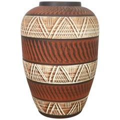 xxl 40cm Vintage 1960s Ceramic Pottery Floor Vase by AKRU Ceramic Germany, 1960s