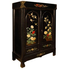 French Chinoiserie Cabinet in Lacquered and Painted Wood, 20th Century