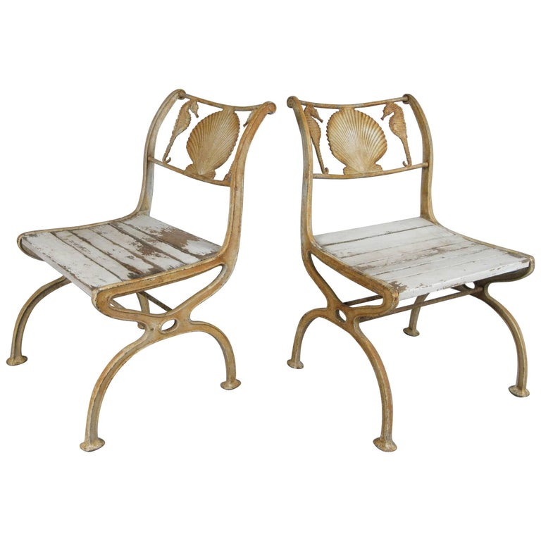 Pair of Rare 1920s Cast Iron Seashell and Seahorse Chairs