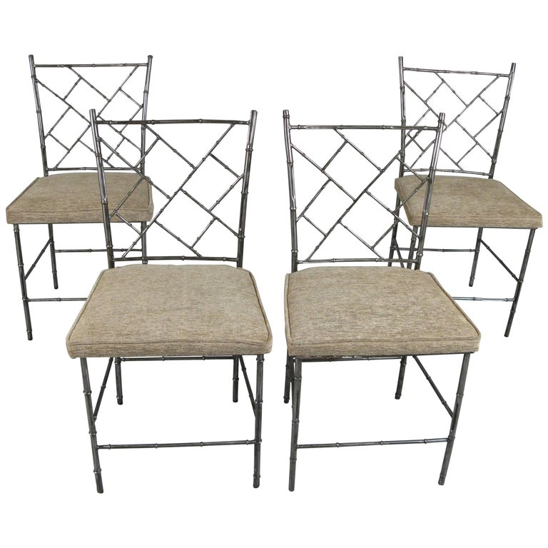 Set of Four Steel Chippendale Style 'Bamboo' Dining Chairs