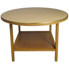 Paul McCobb Round Leather Top and Brass Trim Table