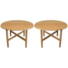 Pair of Oval Danish Tables by Haslev