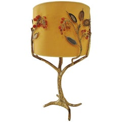 "Gilt Brass ""Tree"" Table Lamp by Jancques Duval-Brasseur, 1970s"