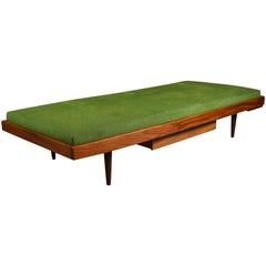 Teak Midcentury Daybed with Drawer and Extractable Coffee Table, New Upholstery