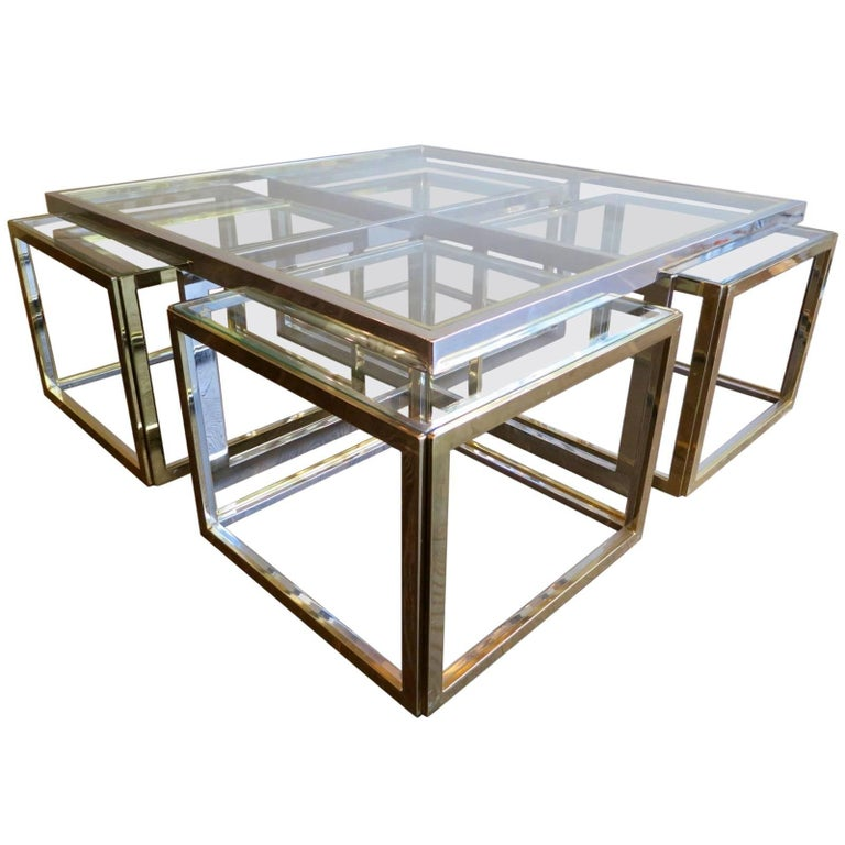 Large Square Coffee Table in Brass and Chrome by Jean Charles For Sale