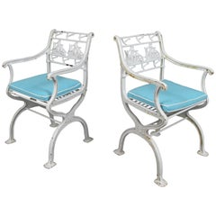 Pair of Rare Antique Cast Iron Sailing Ship and Anchor Chairs
