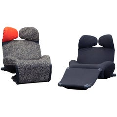 Cassina Wink Designer Armchair Set Fabric Black One Seat Couch Function Modern