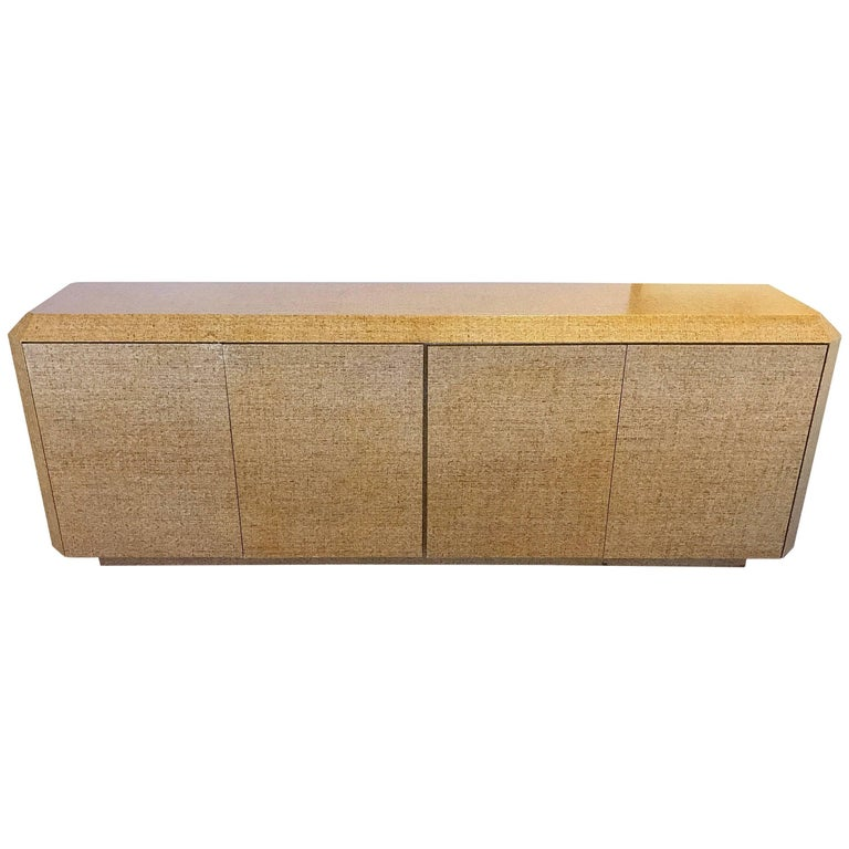 Midcentury Long Woven Grass Cloth Credenza For