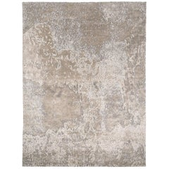 'Aquarium Silver' Silk and Wool Contemporary Rug By Carini 9x12